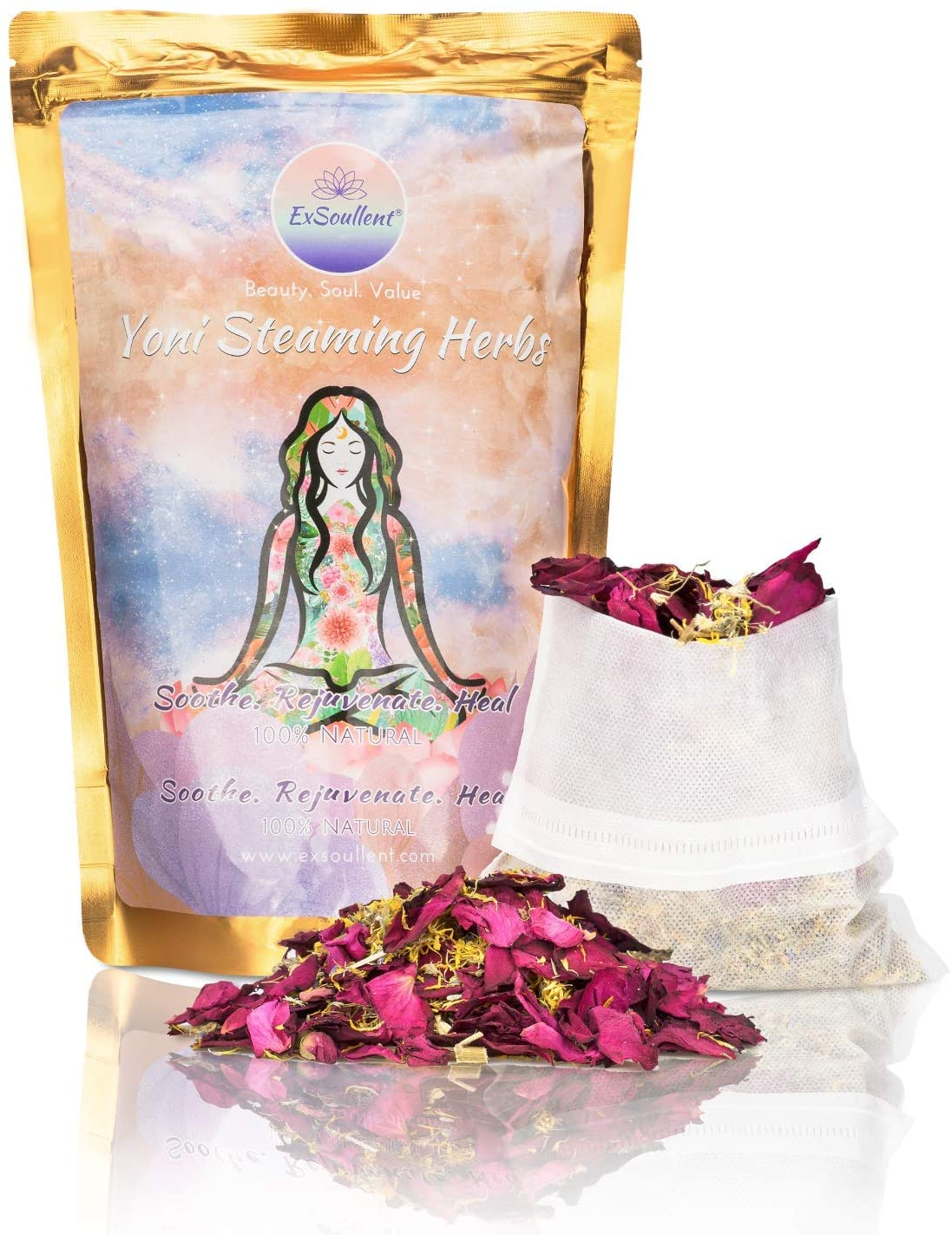 ExSoullent Yoni Steaming Herbs - 100% Organic Vaginal Steam, 8 OZ 10 Yoni Steam Herbs Blend, V Steam | Soothe. Rejuvenate. Heal (8-16 steams)