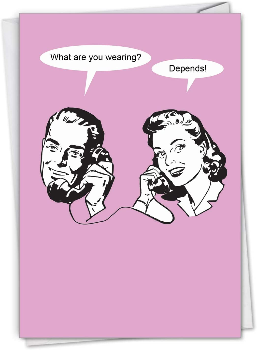 NobleWorks, It Depends - Funny Romantic Birthday Card with Envelope - Vintage, Retro Adult Bday Greeting Card for Couples, Spouse C3295BDG