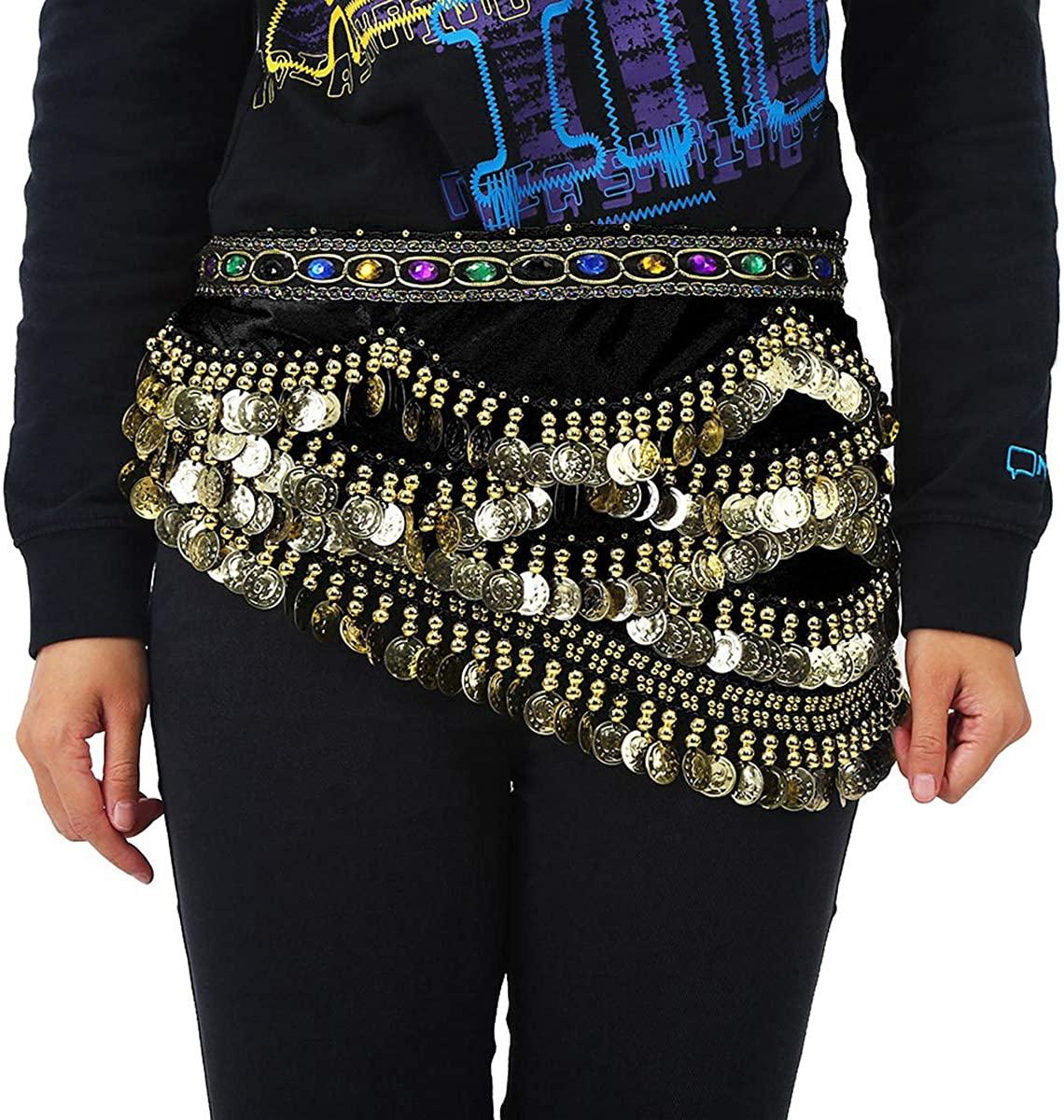 Yunnyp Belly Dance Belt,Hip Scarf Wrap Skirt Waist Belt with Artificial Coin Tassel