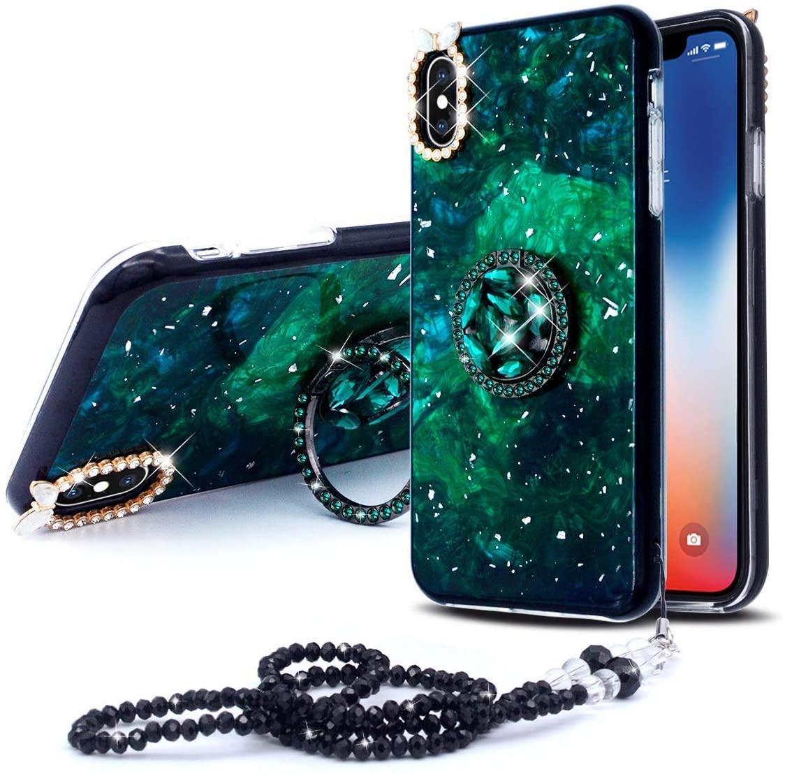 KJArrow Marble Case for iPhone 8Plus, Luxury Case for iPhone 7Plus (Green, iPhone 7P/8P)