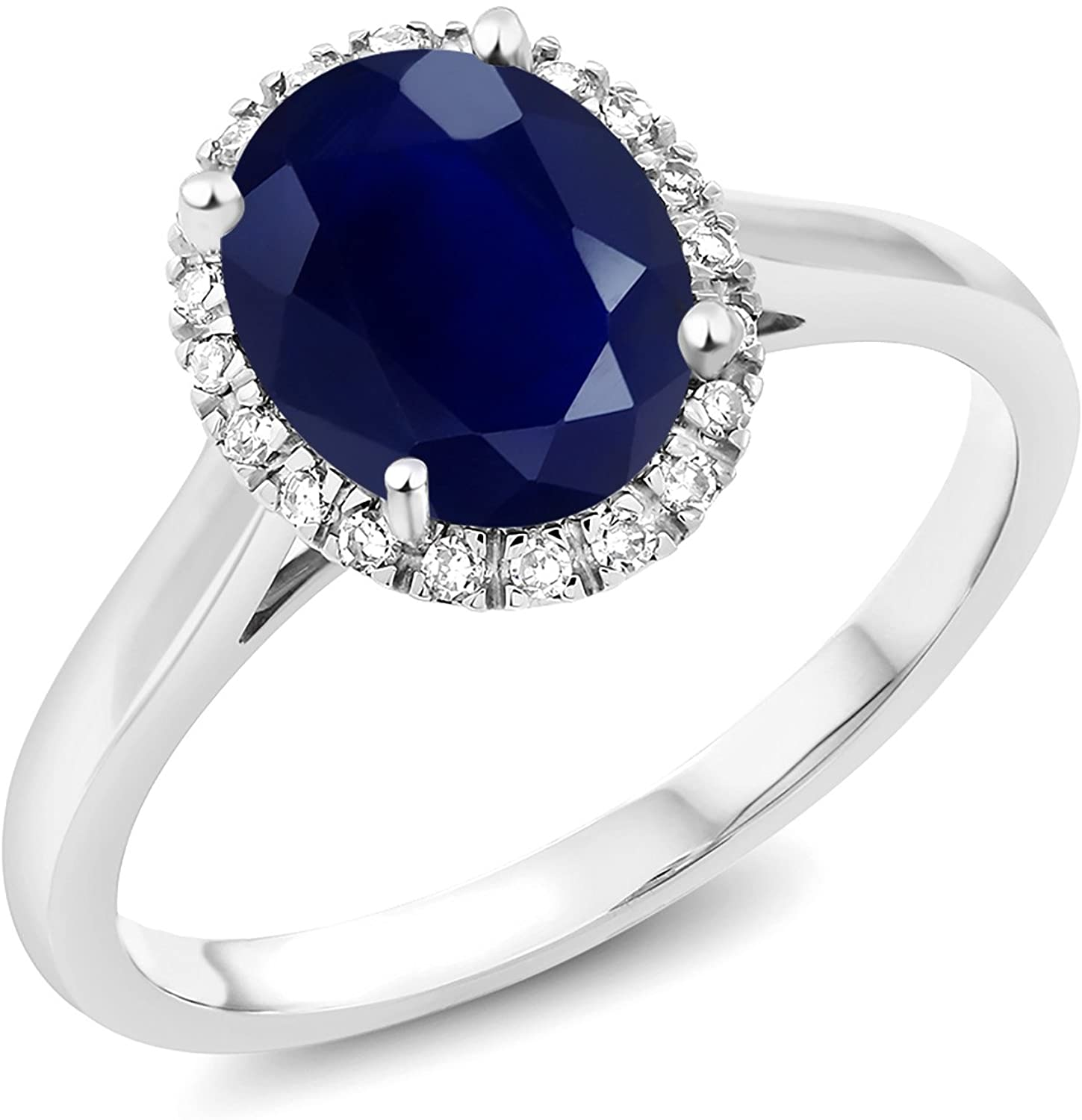 Gem Stone King 10K White Gold Blue Sapphire and Diamond Women's Engagement Ring (2.50 Cttw Oval, Available in size 5, 6, 7, 8, 9)
