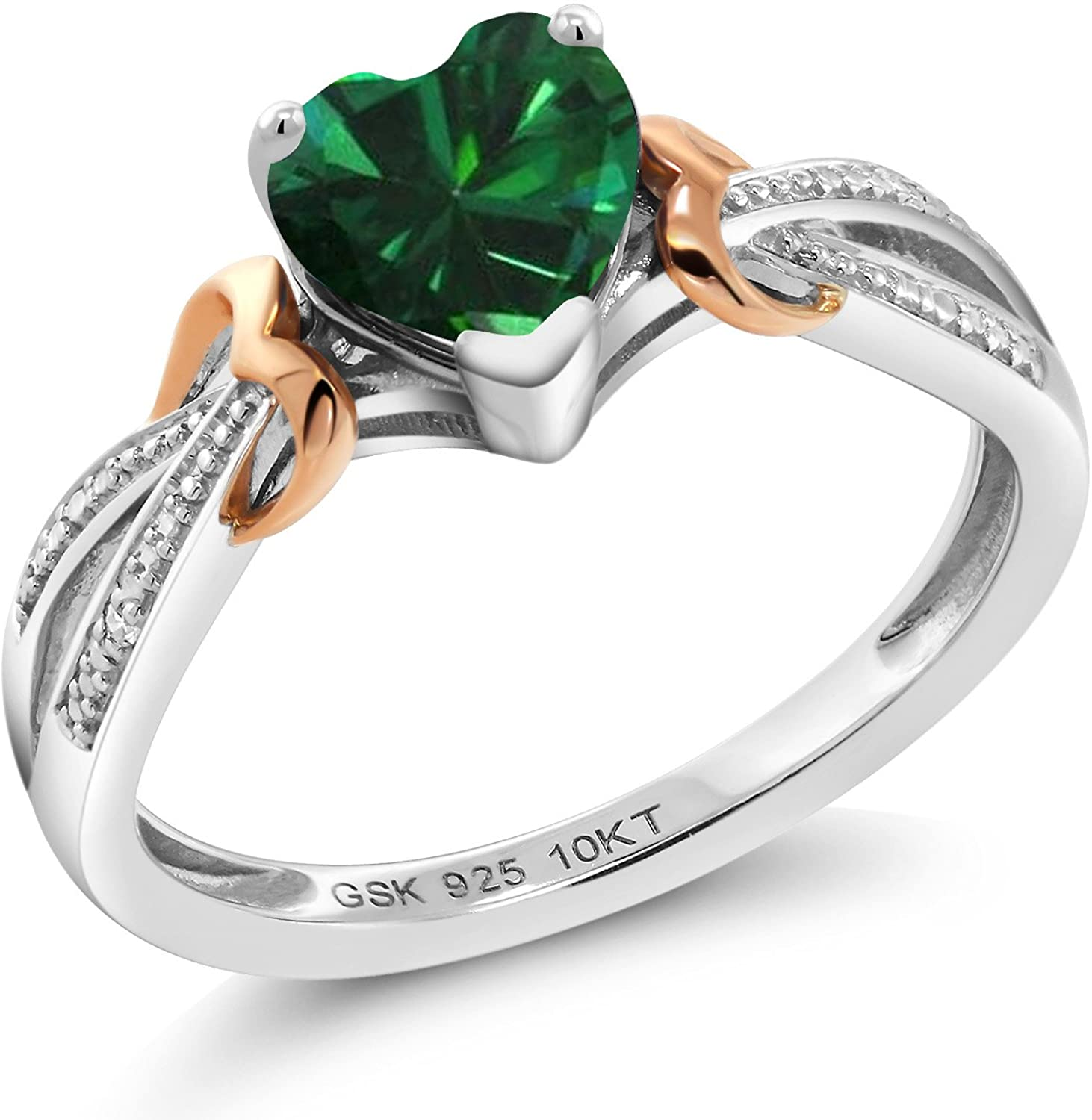 Gem Stone King 925 Sterling Silver and Solid 10K Rose Gold Simulated Emerald and Diamond Women Ring (0.69 Ct Heart Shape, Available in size 5, 6, 7, 8, 9)
