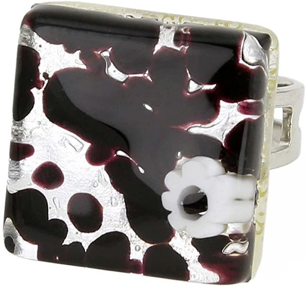 GlassOfVenice Murano Glass Venetian Reflections Square Adjustable Ring - Dark Purple Silver