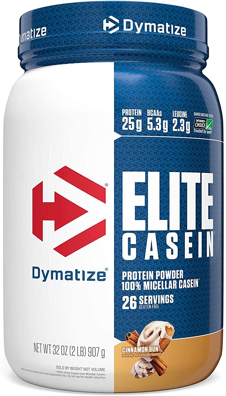 Dymatize Elite Casein Protein Powder, Slow Absorbing with Muscle Building Amino Acids, 100% Micellar Casein, 25g Protein, 5.4g BCAAs & 2.3g Leucine, Helps Overnight Recovery, Cinnamon Bun, 2 Pound