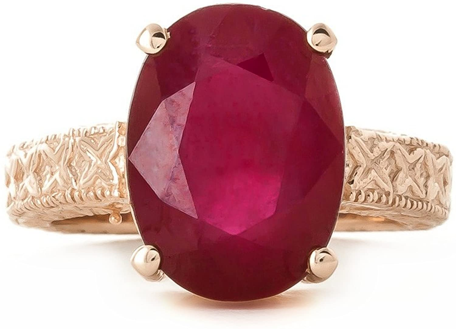 Galaxy Gold 14k Solid Gold Filigree Ring Oval Shape Ruby 5277 (Rose-Gold, 8)