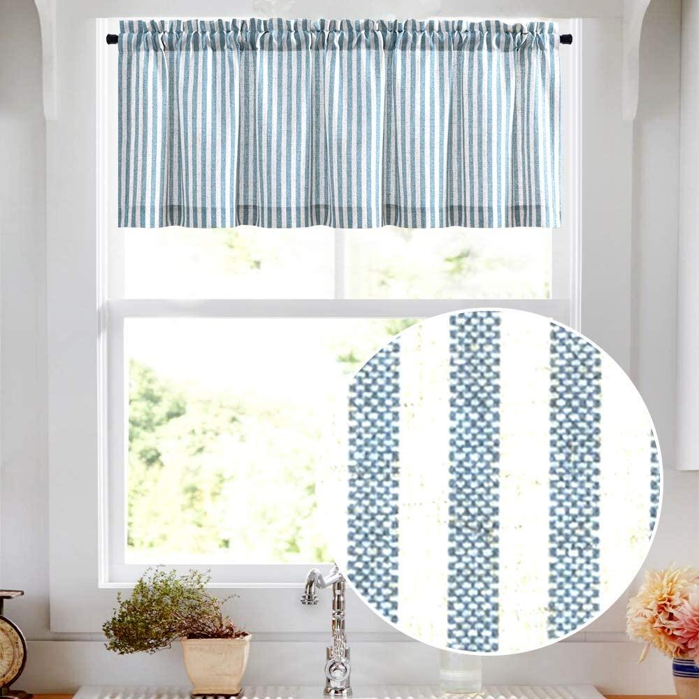 Valance Linen Textured Stripe Pattern Short Curtains for Kitchen Bathroom Rod Pocket Window Treatments 1 Panel 16