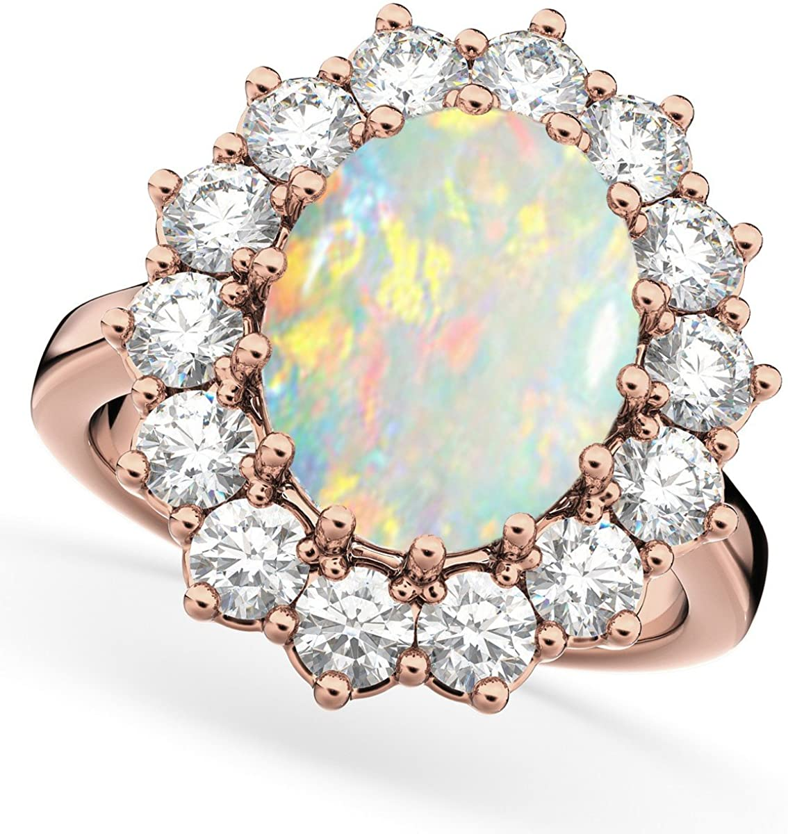 14k Gold Women's Oval Opal and Diamond Halo Lady Di Ring (6.40ct)