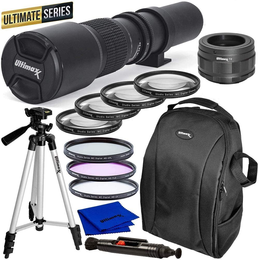 Ultimaxx High-Power 500mm f/8 Manual Multi-Coated Preset Telephoto Lens Kit for Nikon Z50, Z6, and Z7 Z-Mount Cameras - Includes: T-Mount to Nikon Z-Mount Adapter & More