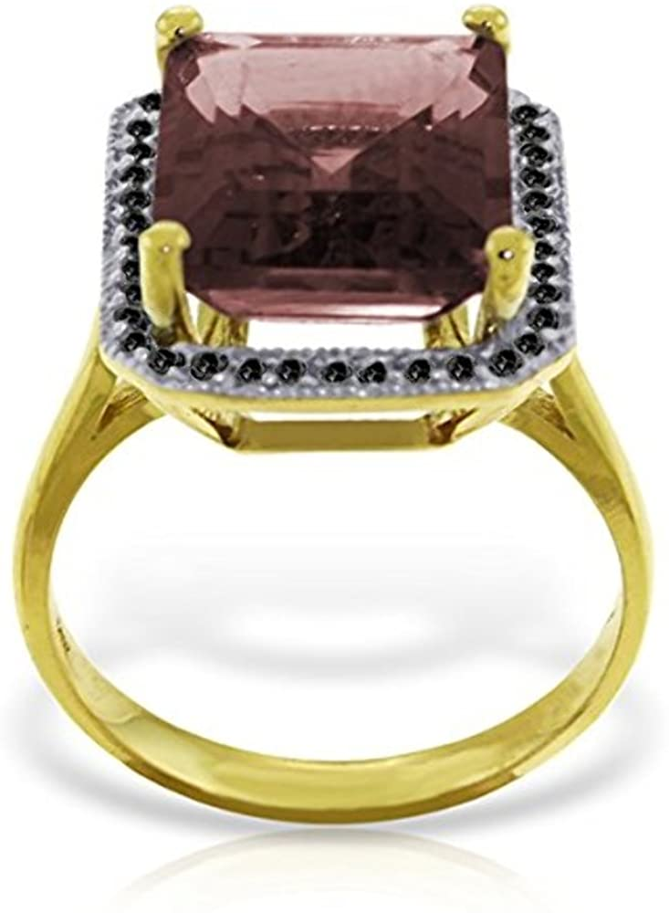 Galaxy Gold 14k Solid Yellow Gold Ring with Natural Black Diamonds and Garnet - Size 9.0