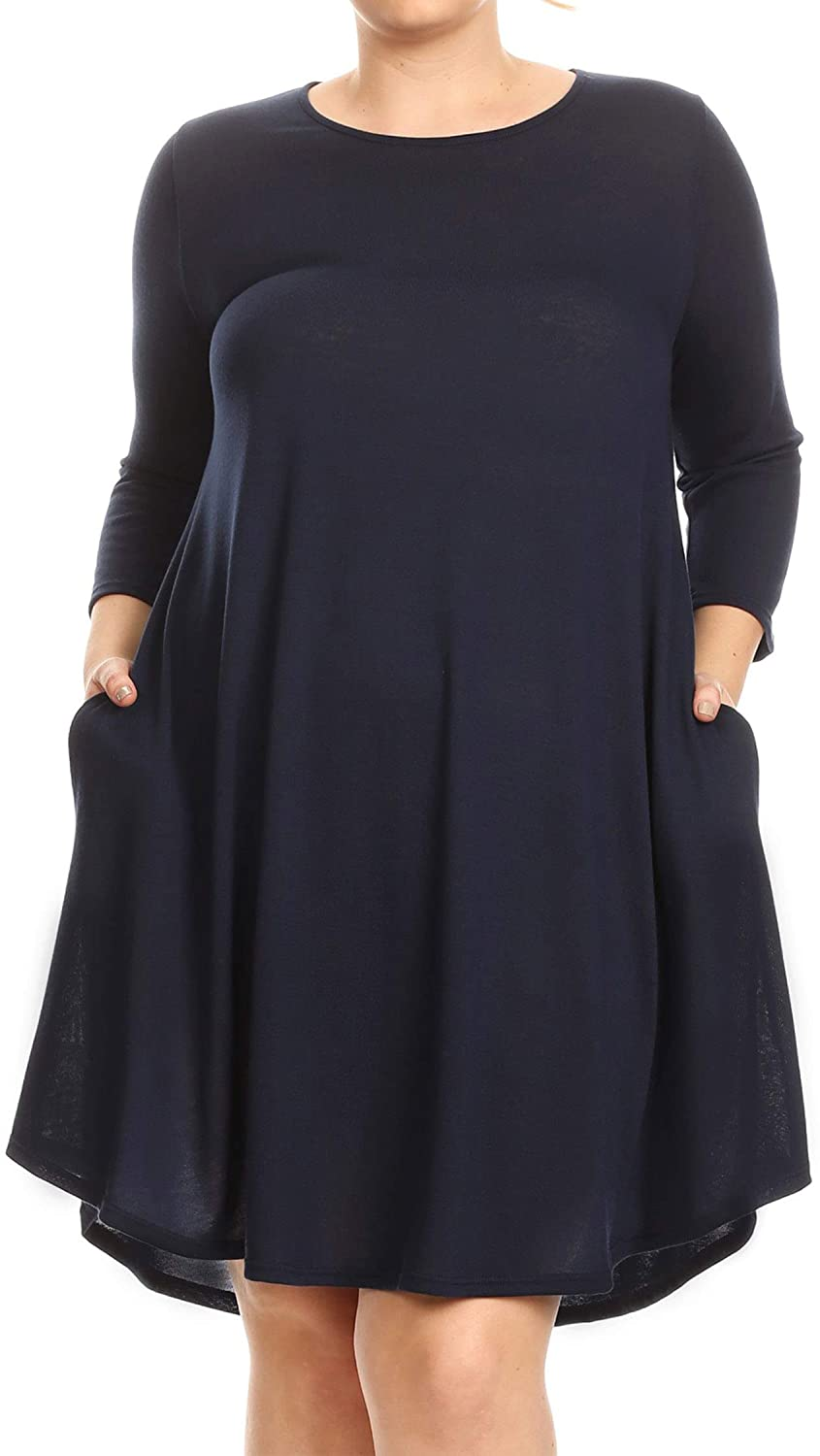 FashionStream Womens Solid Basic Short A-Line Relaxed Fit Side Pocket Plus Size Tunic Knit Dress
