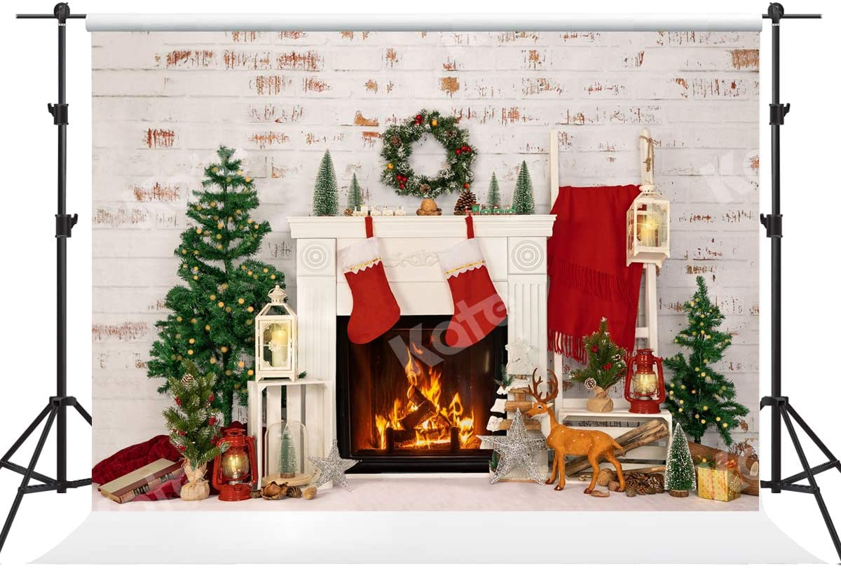 Kate 7×5ft Fireplace Christmas Tree Backdrop Xmas White Brick Indoor Photography Background for Happy New Year Christmas Photo Studio Props