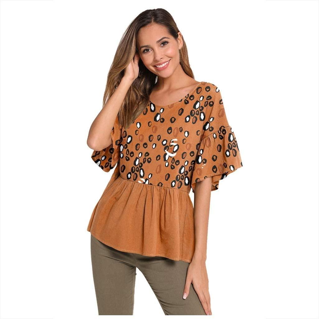 NREALY Chaleco Womens Leopard Stripe Print Half Long Sleeve Shirt Top Ladies O-Neck Loose Blouse