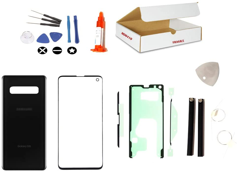 md0410 Screen Repair Kit Compatible with Samsung Galaxy S10 Model G970 Black Front Outer Glass Lens and Prism Black Back Glass Cover Replacement