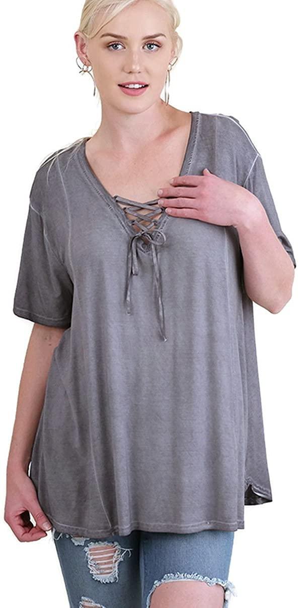 Umgee Bohemian Washed Criss Cross Tunic Top Plus Size