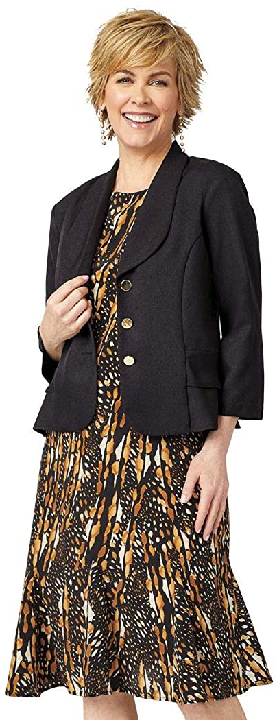 ANTHONY RICHARDS Women's Two Piece Outfit - Knee Length Dress & Short Jacket Animal 18 Misses