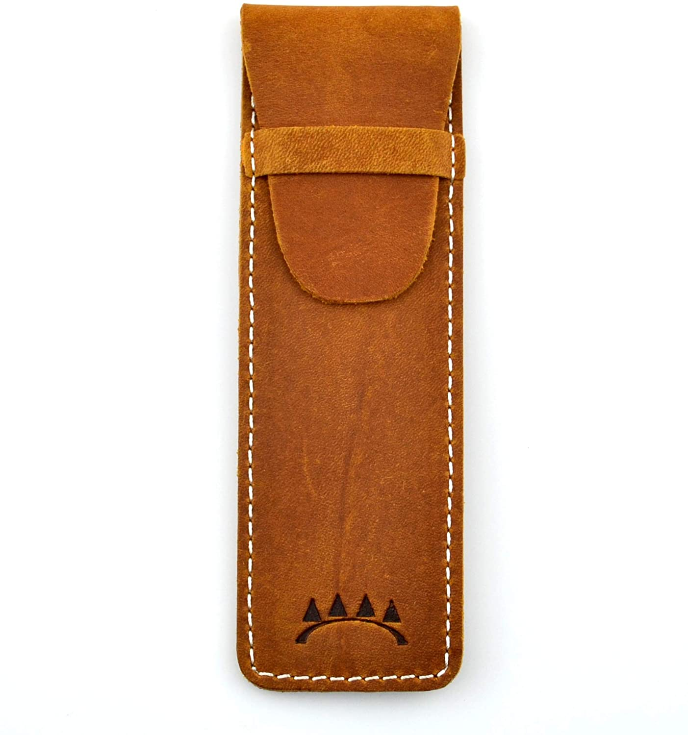Genuine Leather Single Pen Case with Flap Close, Top Grain Leather (Brown)