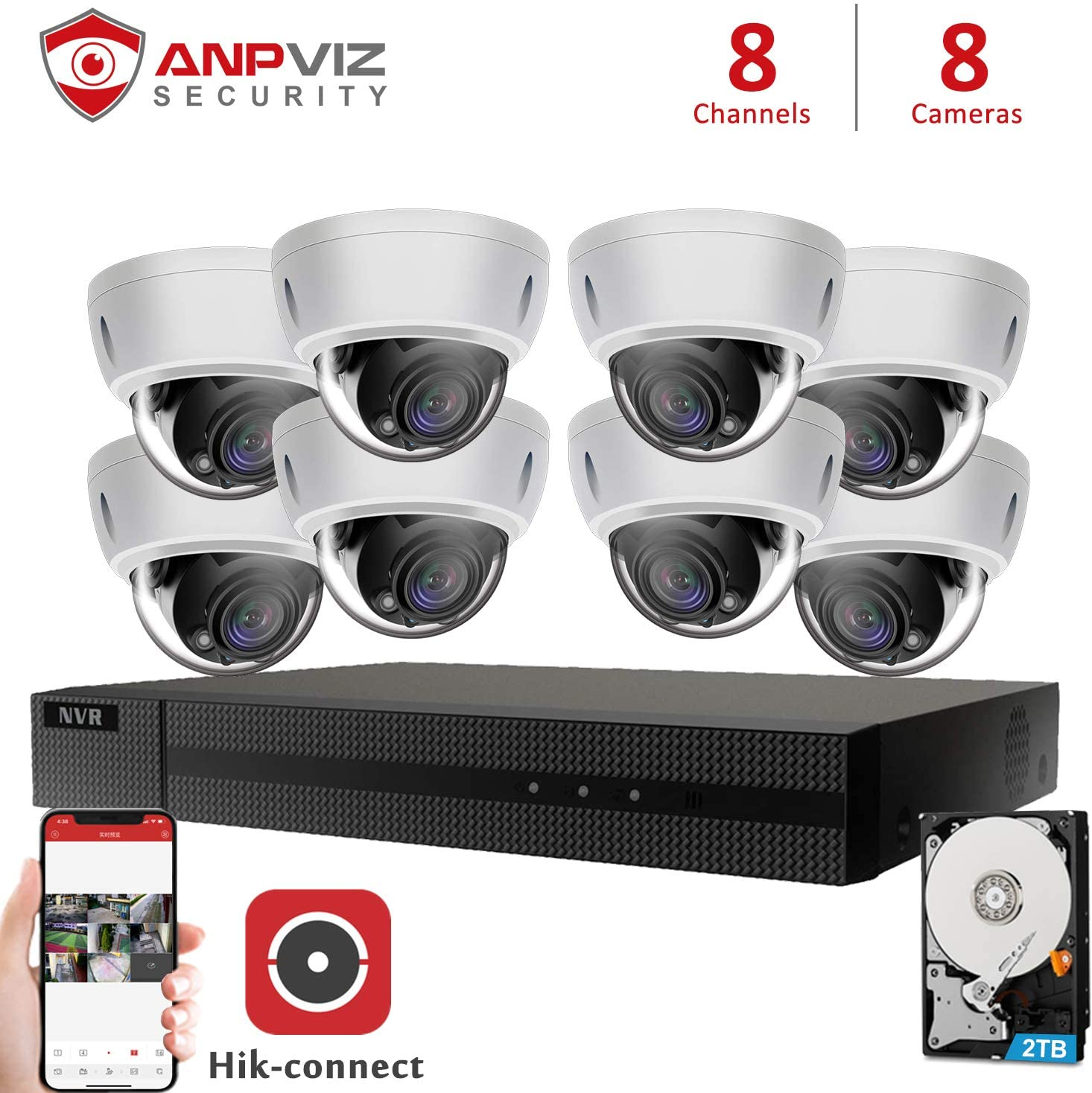 Anpviz 5MP 8 Channel Security Camera NVR System, 8CH 4K H.265 NVR with 2TB HDD with 8pcs White 5MP Dome Outdoor IP POE Cameras Home Security System with Audio, Weatherproof, 98ft Night Vision