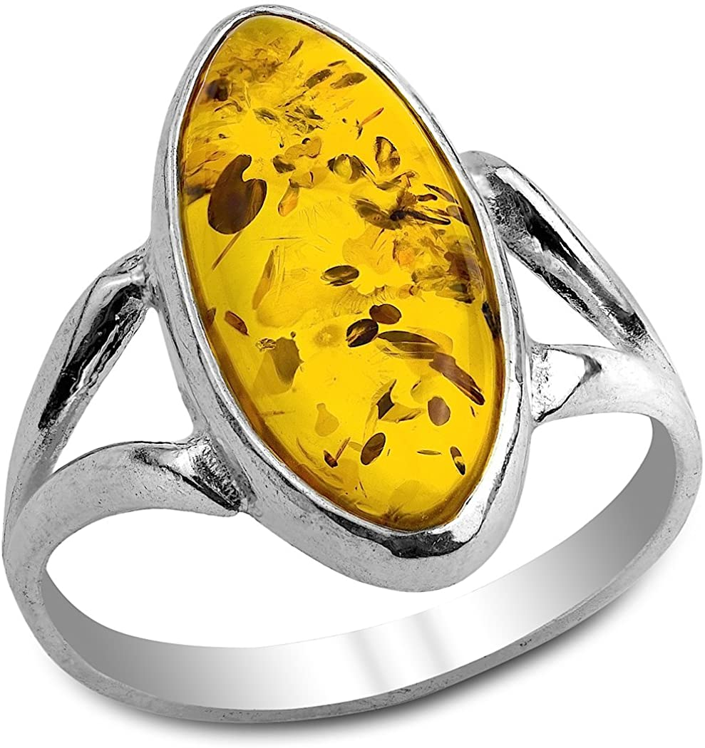 Ian and Valeri Co. Amber Ring Sterling Silver Oval Stone