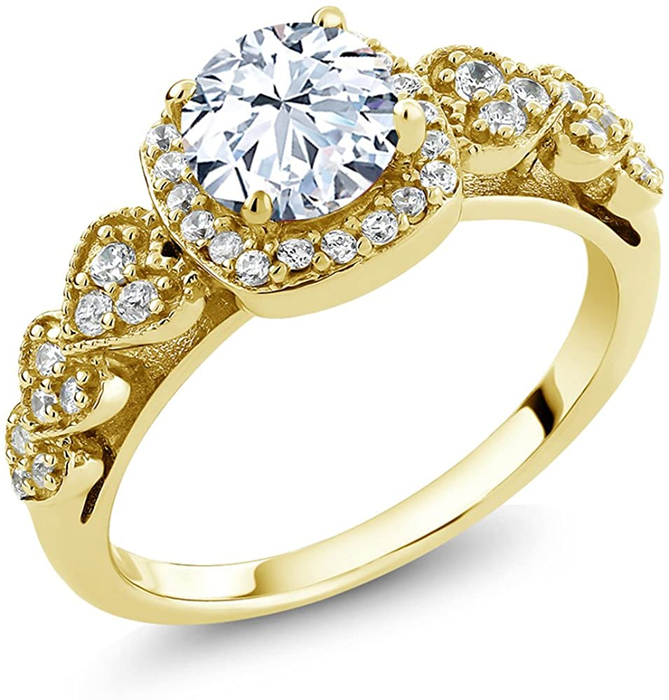 Gem Stone King 18K Yellow Gold Plated Silver White Created Sapphire Women's Ring (1.52 Cttw, Available in size 5, 6, 7, 8, 9)