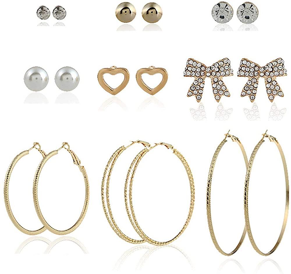 9 Pairs Assorted Multiple Stud Earrings for Women Simple Geometric Leaf Cute Flower Big Hoop Earrings CZ Ball Heart Faux Pearl Earrings Set