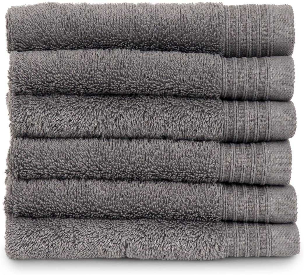 TowelSelections Organic Collection Luxury Towels – 100% Organic Turkish Cotton, Made in Turkey, Wild Dove, 6 Washcloths