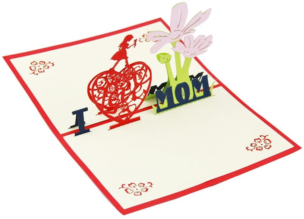 Ignislife 3D Birthday Cards Pop-up Cards I LOVE MOM 6 x 4 Inch
