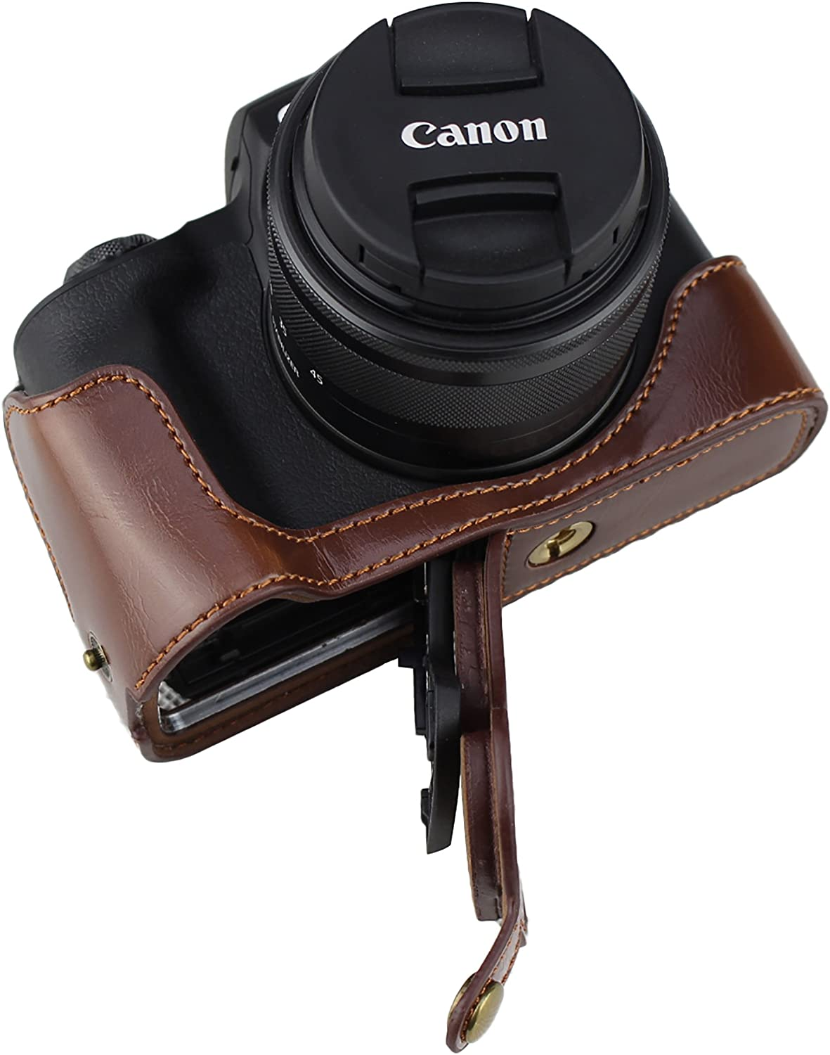 Bottom Opening Version Protective PU Leather Half Camera Case Bag for Canon EOS M50 with Hand Strap Dark Brown
