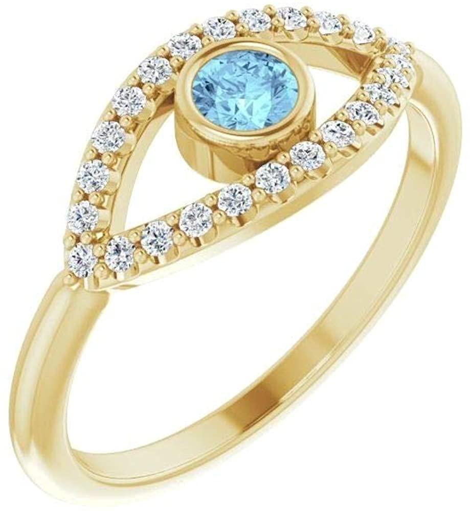 Bonyak Jewelry 14k Yellow Gold Aquamarine & White Sapphire Evil Eye Ring - Size 7