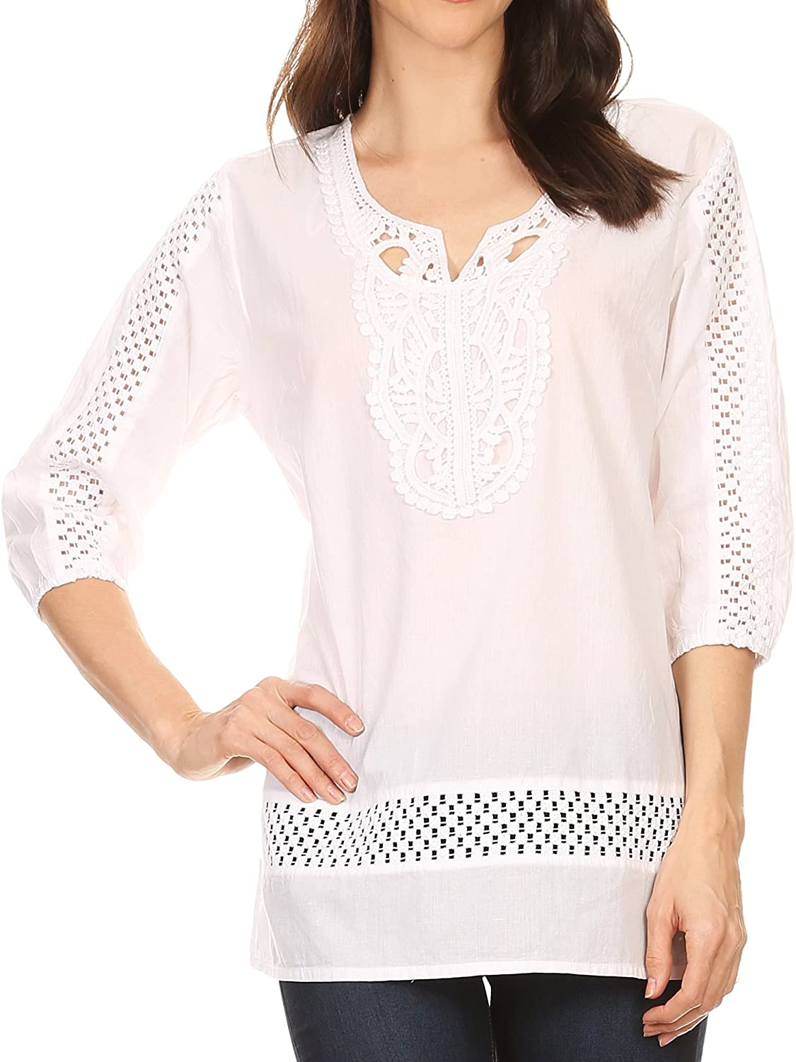 Sakkas Marion 3/4 Sleeve Blouse Tunic with Lace Applique and Crochet