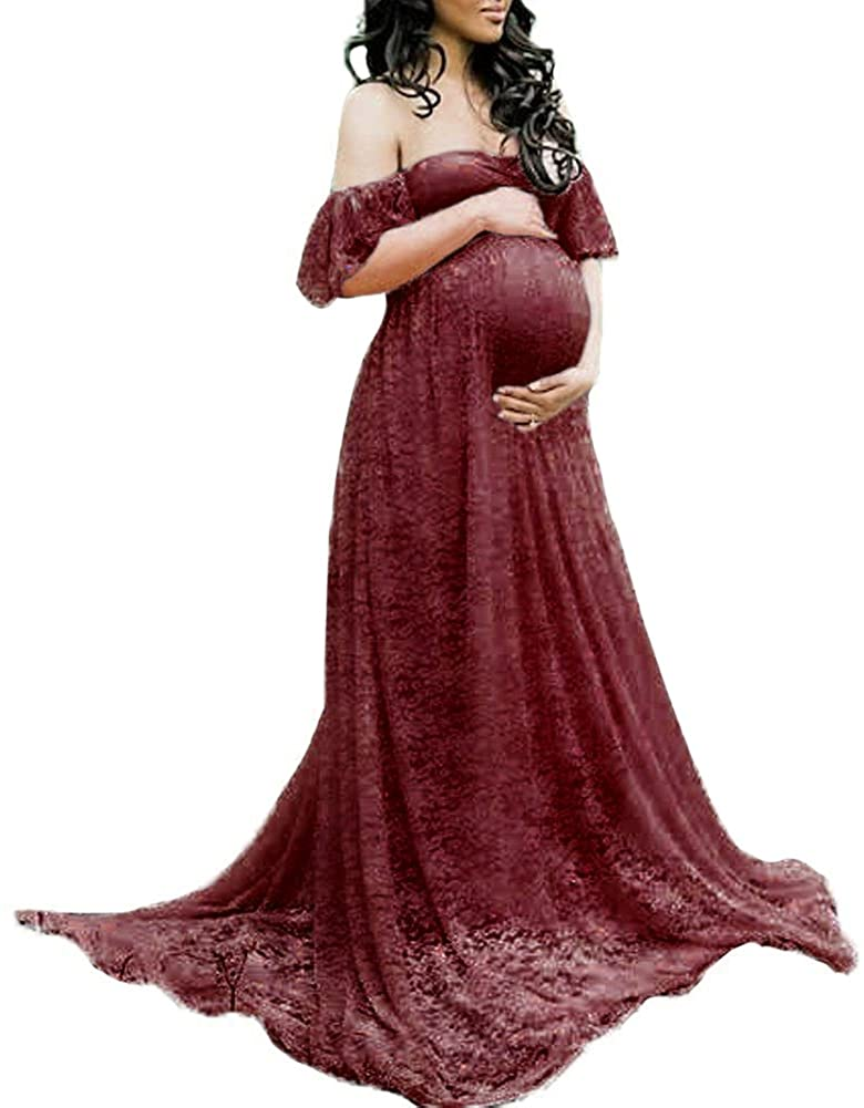Women's Maternity Lace Flower Off Shoulder Long Dress Sweetheart Baby Shower Wedding Photo Prop Maxi Trailing Ball Gown