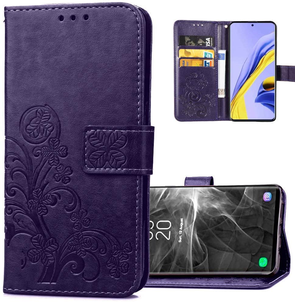 COTDINFORCA Moto G8 Power Lite Wallet Case Leather Flip Case Premium PU Embossed Design Magnetic Closure Protective Cover with Card Slots Case for Motorola Moto G8 Power Lite. Luck Clover Purple