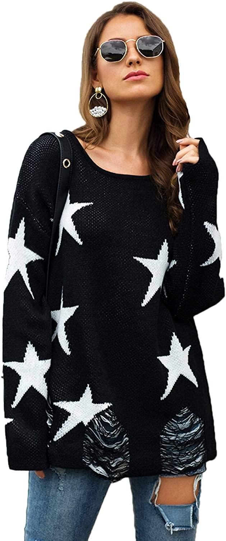 Floerns Women's Star Print V Neck Long Sleeve Pullover Sweater Tops