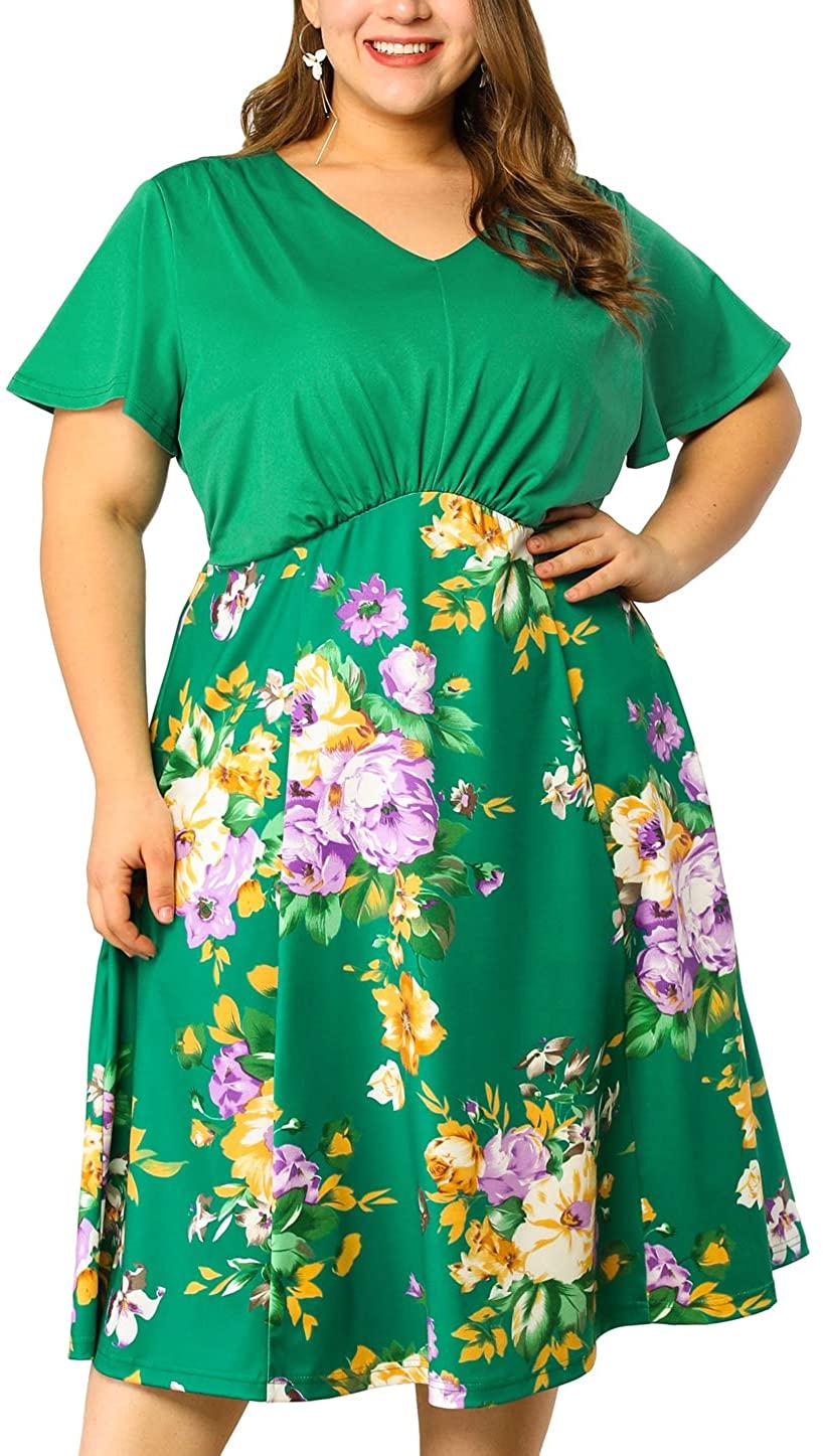 Agnes Orinda Women's Plus Size Dress Empire Waist Short Sleeve Midi Sundress Floral Dresses
