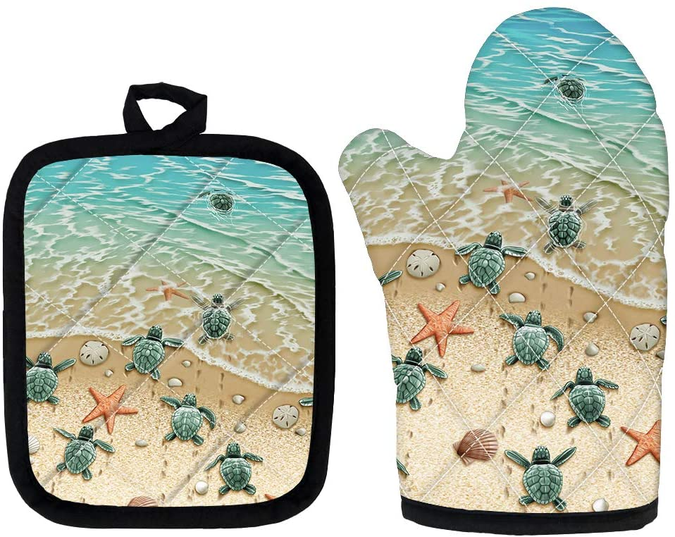 BIGCARJOB Beach Turtle Print Oven Mitt with Potholder Set of 2 Oven Mitt and Pot Holder,Oven Gloves, High Heat Resistance,Protection & Comfort for Women Men