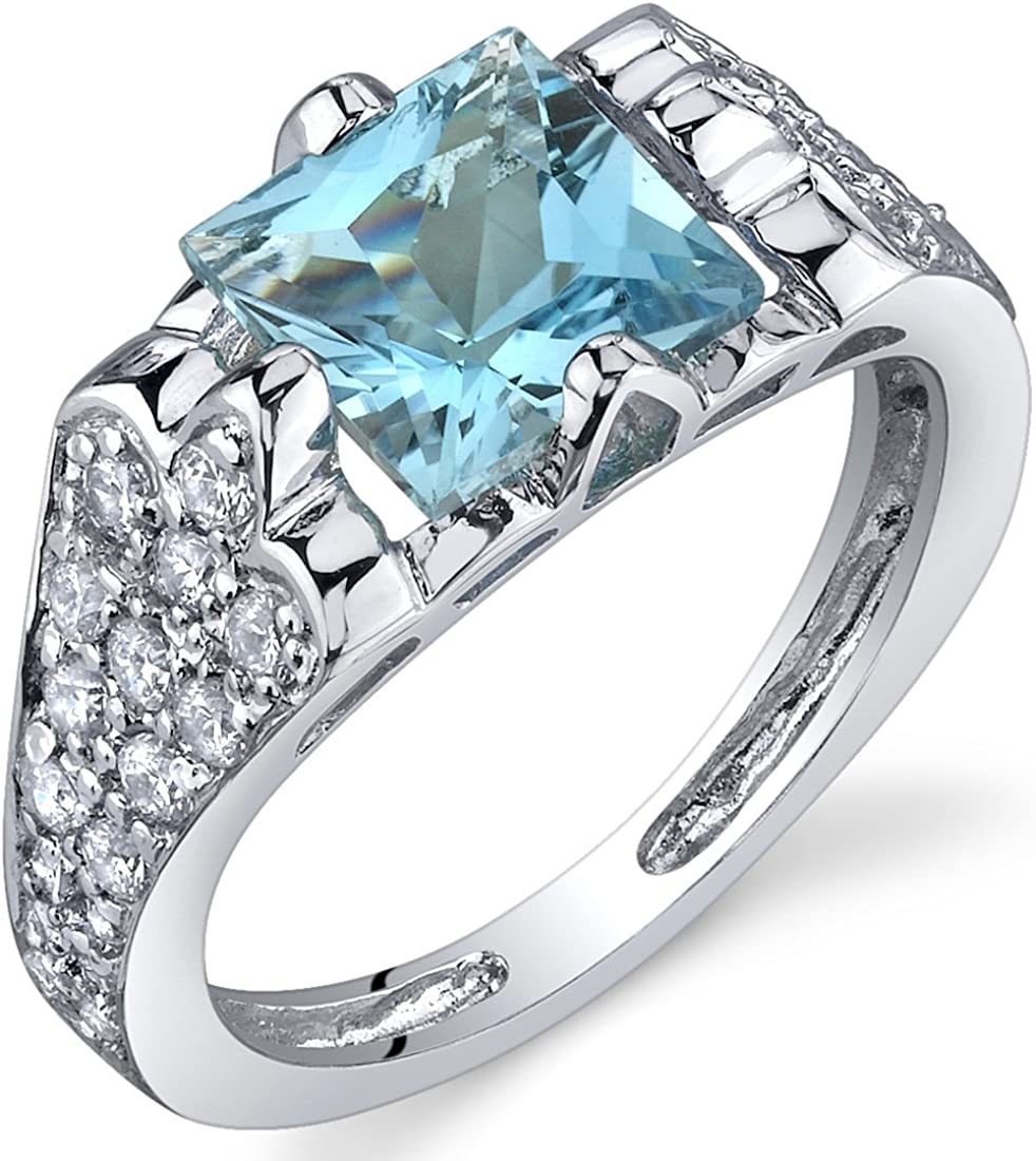 Elegant Opulence 1.75 Carats Swiss Blue Topaz Ring in Sterling Silver Rhodium Nickel Finish Sizes 5 to 9