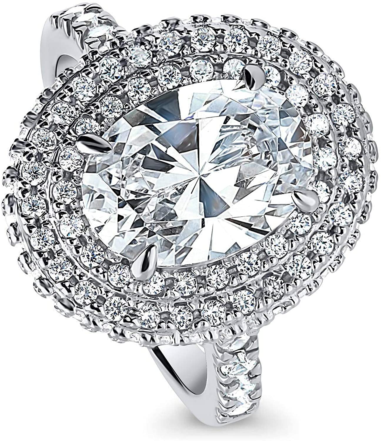 BERRICLE Rhodium Plated Sterling Silver Oval Cut Cubic Zirconia CZ Statement Halo Engagement Ring 4.15 CTW