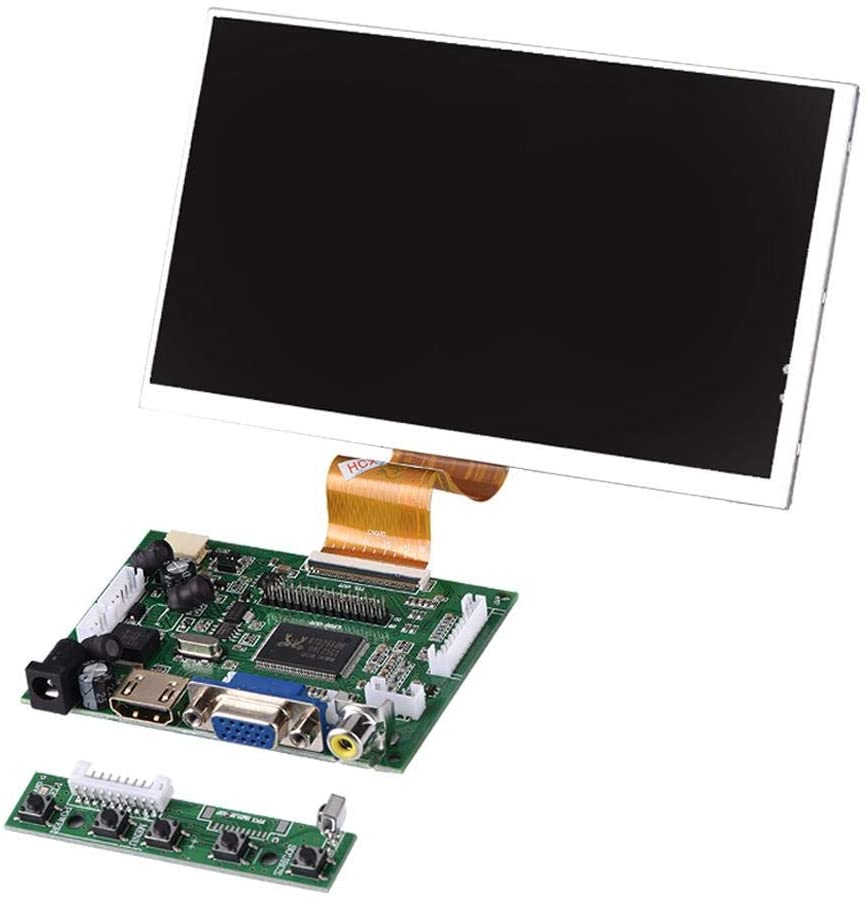 7 Inch Display Screen for Raspberry Pi, 50Pin High Resolution 1024X600 Screen with HDMI+VGA+2AV Driver Board for Automobile System/Mobile DVD