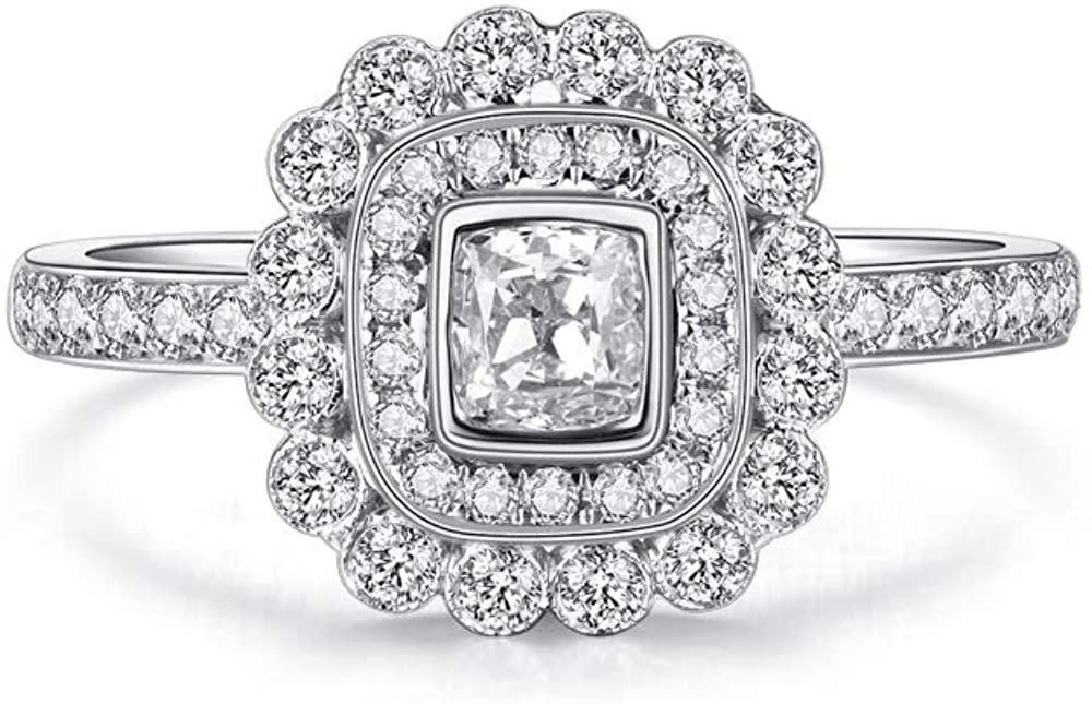 DUGISOWE 10K 14K 18K Gold Engagement Rings Proposal Rings for Women 1.3 Carat(Ctw) Square Moissanite Ring Personalized Custom Name Lovers Ring Wedding Ring