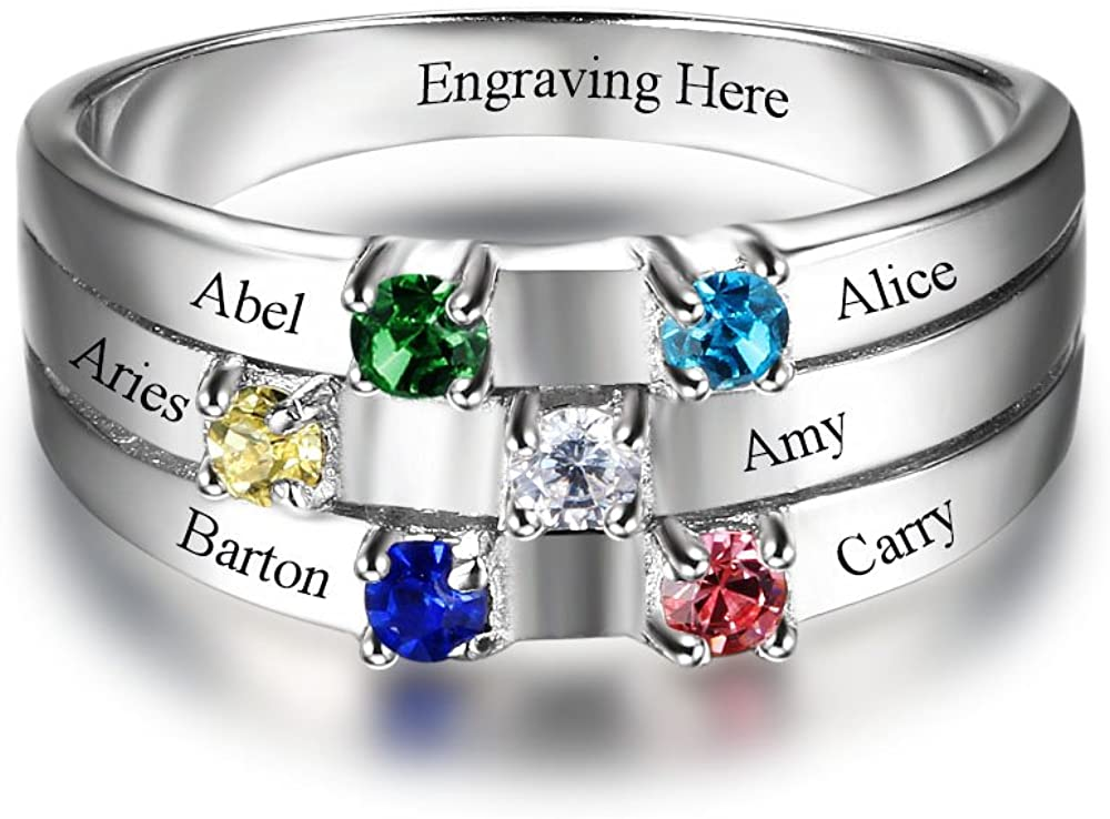 OPALSTOCK Personalized Mothers Rings for Women with 6 Simulated Birthstones Custom 6 Name Rings Family Rings for Grandmother Mothers Day