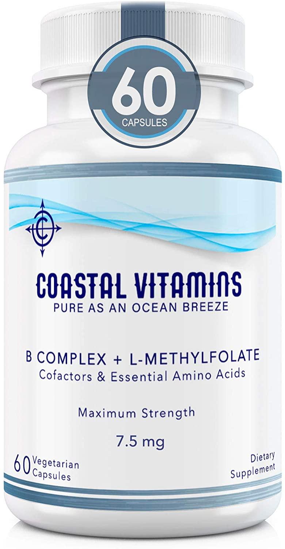 Coastal Vitamins L-Methylfolate 7.5 mg + B Complex Cofactors & Essential Amino Acids - Active Folate, Methylated B12, B6 and Glycine for Brain, Heart & Fetal Health, 60 Count (2 Month Supply)