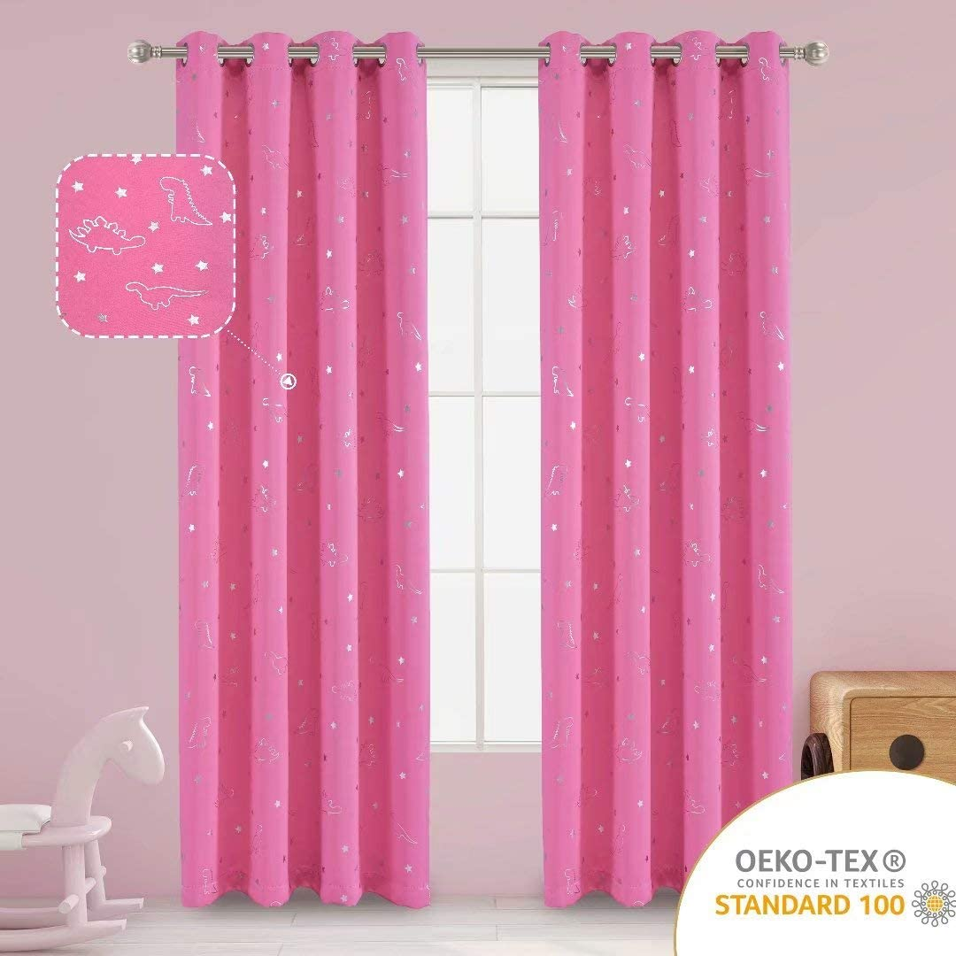LORDTEX Dinosaur and Star Foil Print Blackout Curtains for Kids Room - Thermal Insulated Curtains Noise Reducing Window Drapes for Boys and Girls Bedroom, 52 x 84 Inch, Pink, Set of 2 Panels