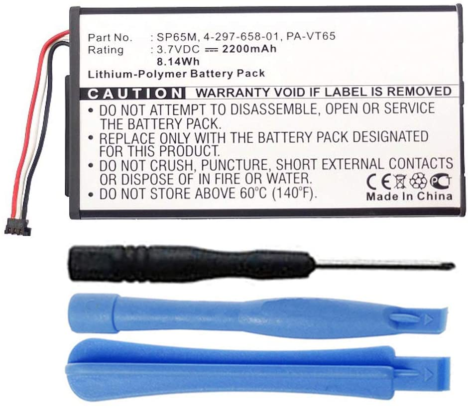 MPF Products 2200mAh SP65M, SP654580, PA-VT65 Battery Replacement Compatible with Sony Playstation PS Vita PSV PCH-1001, PCH-1101 with Installation Tools