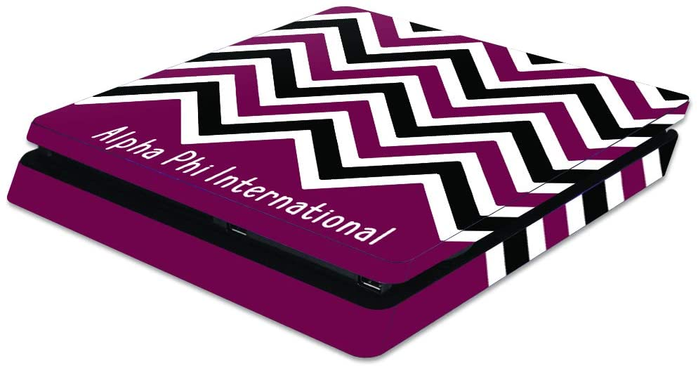 MightySkins Compatible with Sony PS4 Slim Console - Alpha Phi Basic Chevron   Protective, Durable, and Unique Vinyl Decal Wrap/Decal   Device Not Included - This is A Skin  Made in The USA