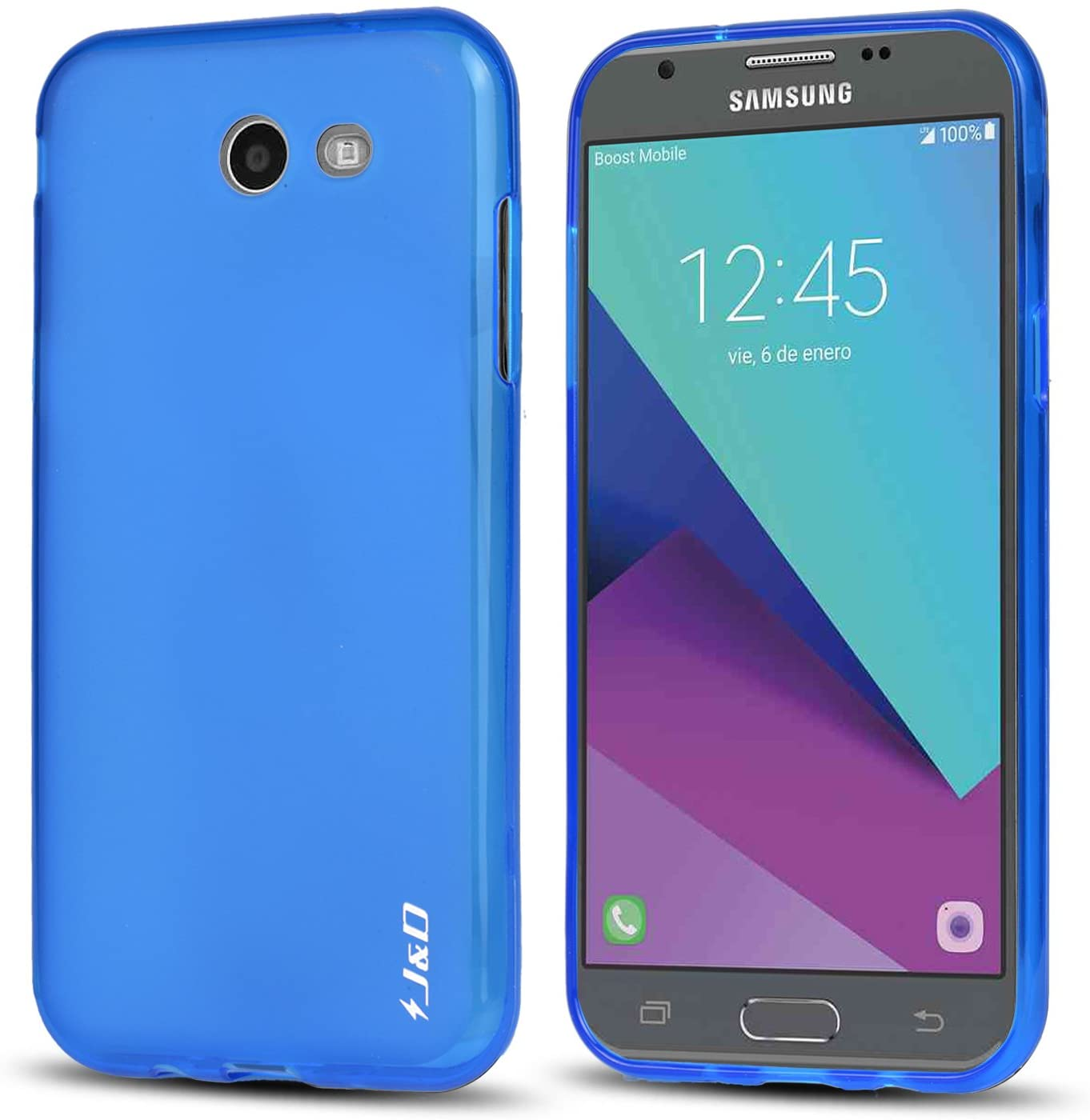 J&D Case Compatible for Samsung Galaxy J3 Emerge / J3 Prime / J3 2017 / J3 Eclipse/Sol 2 Case, [Drop Protection] [Slim Cushion] Shockproof Protective TPU Slim Case for Galaxy J3 Emerge Bumper Case