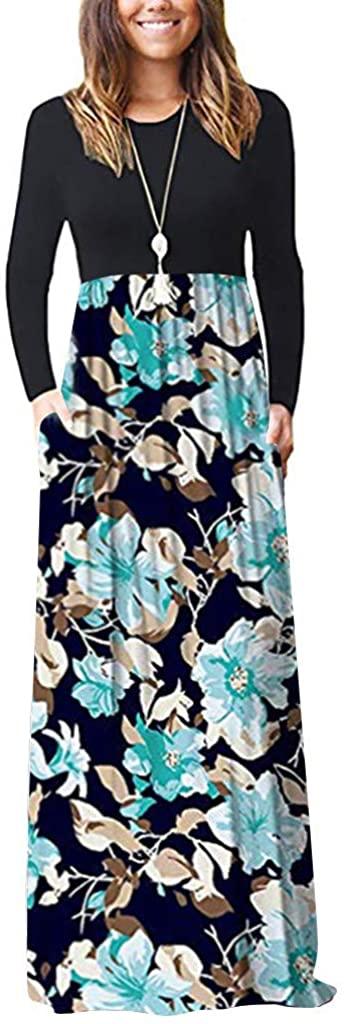 Women's Mini Dress Christmas Printed Elegant Dress Long Sleeve Loose Plain Long Maxi Casual Dresses with Pockets