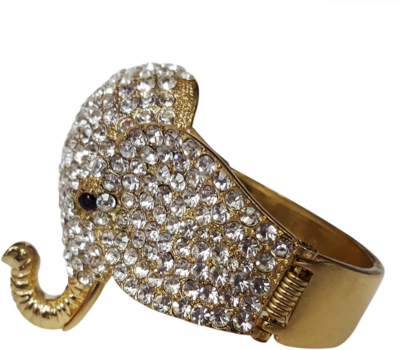Elephant Head Hinged Bling Bangle Bracelet (Gold Toned)