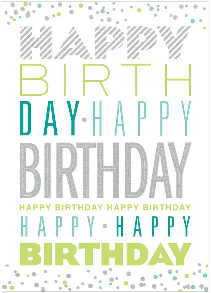 JAM PAPER Blank Birthday Card Sets - Birthday Typography with Glitter - 25/Pack
