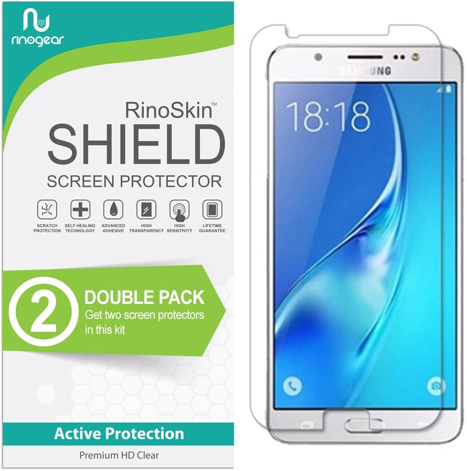 (2-Pack) RinoGear Screen Protector for Samsung Galaxy J7 (2017) Case Friendly Samsung Galaxy J7 Screen Protector Accessory Full Coverage Clear Film