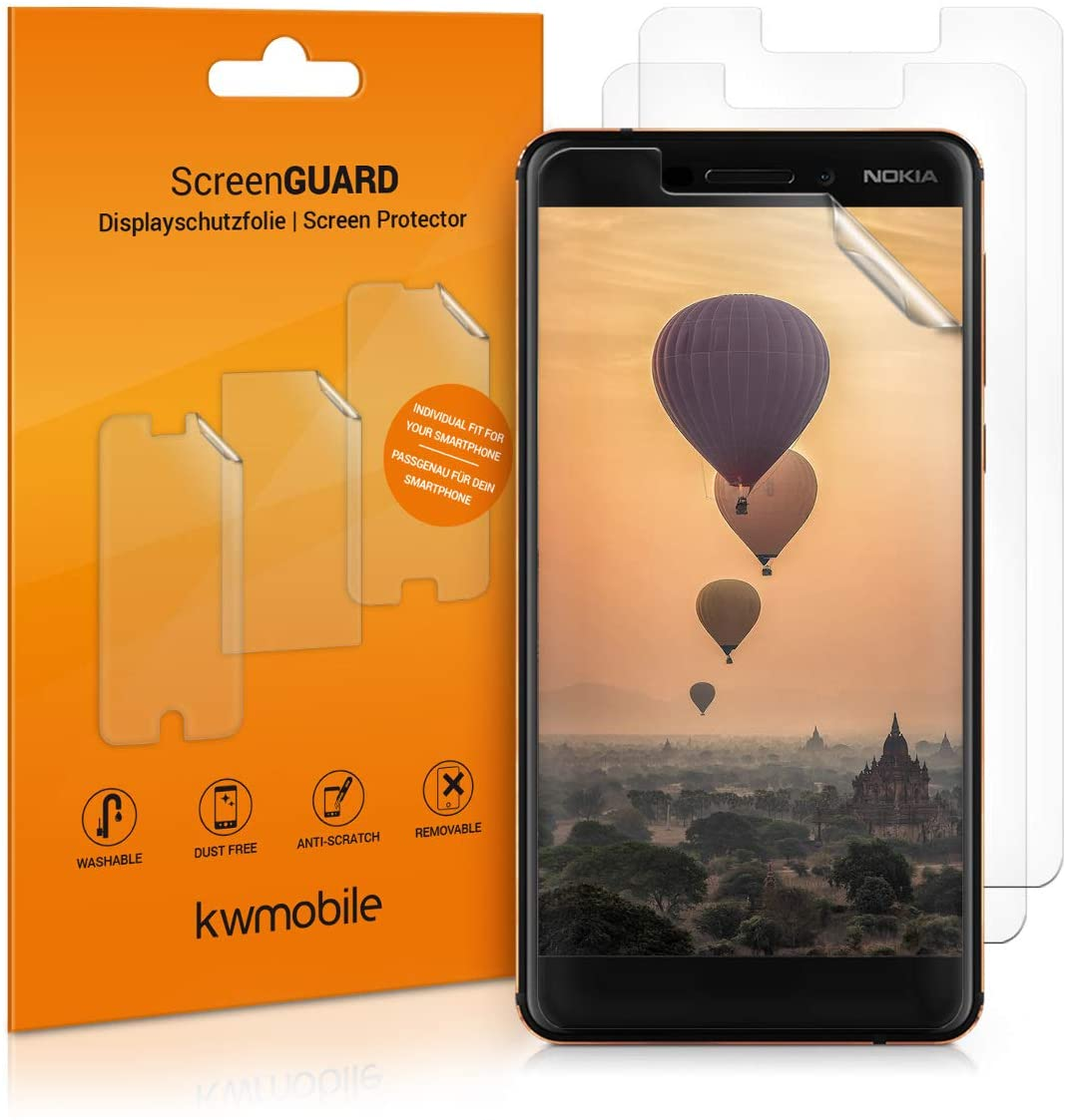 kwmobile Set of 3 Screen Protectors Compatible with Nokia 6.1 (2018) - Crystal Clear Display Film Protector Pack for Mobile Cell Phone