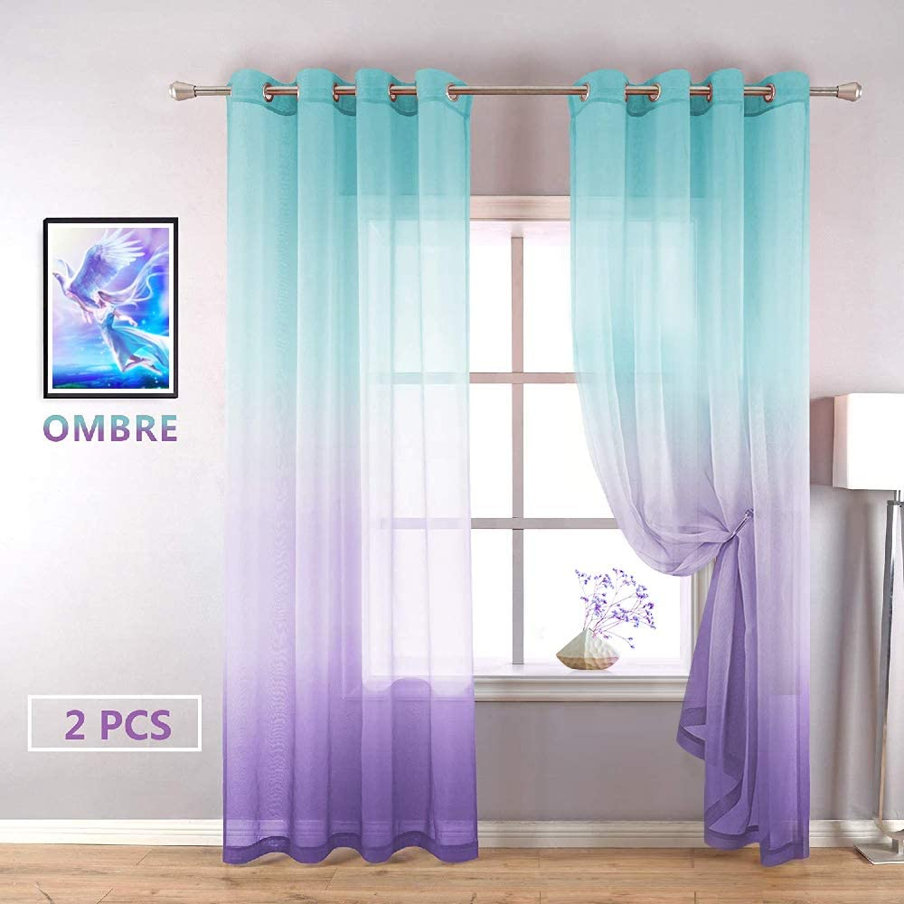 YZhome Cyan and Purple Sheer Curtains for Kids Bedroom 2 Panel,Elegant Lilac Turquoise Ombre Semi Voile Drapes Grommet Faux Linen Curtain for Nursery Baby Living Room (52 x 84 Inch,Cyan to Purple)
